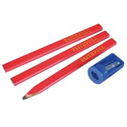 Faithfull Carpenter's Pencils Red (Pack of 3 +Sharp Card)