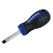 Faithfull Soft-Grip Screwdriver Slotted Flared Tip 6.5mm x 40mm Stubby