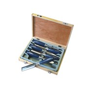Faithfull Bevel Edge Chisel Blue Grip Set of 6: 6, 10, 12, 18, 25 & 32mm Wooden Case