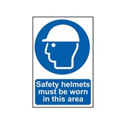 Scan Safety Helmets Must Be Worn In This Area - PVC 400 x 600mm