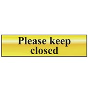 Scan Please Keep Closed - Polished Brass Effect 200 x 50mm