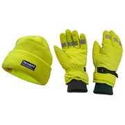 Hi-Visibility Beanie Hat & Gloves Yellow