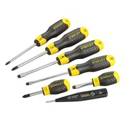Stanley Tools Cushion Grip Flared & Phillips Screwdriver Set of 6 + Voltage Tester
