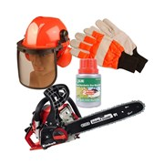 Chain Saw 41cc with Safety Helmet Gloves and 2 Stroke Oil