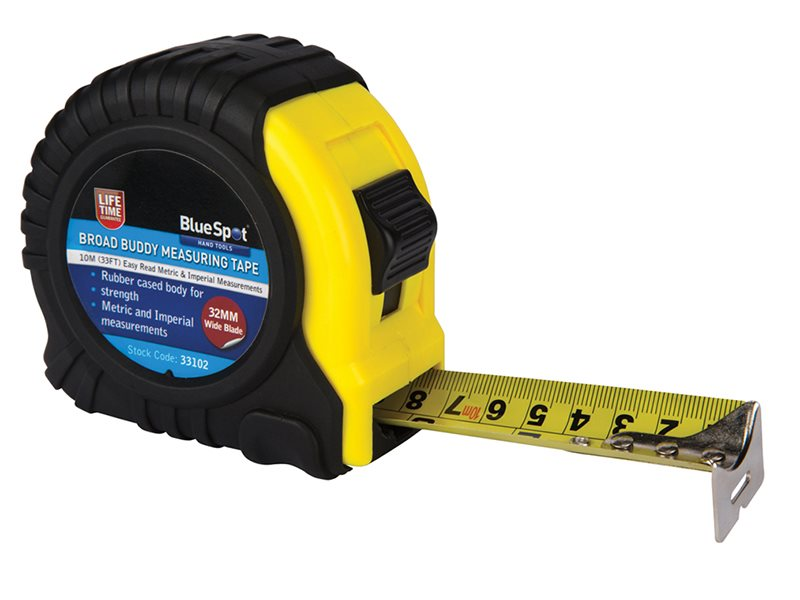 Blue Spot Tools Broad Buddy Pocket Tape 10m//33ft Width 32mm