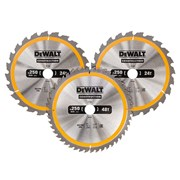 DEWALT DT1963 Construction Circular Saw Blade 3 Pack 250mm