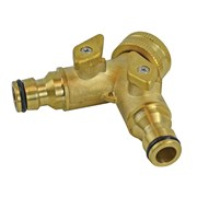 Faithfull 2 Way Shut Off Valve 19mm (3/4in) to 2 x 12.5mm (1/2in)