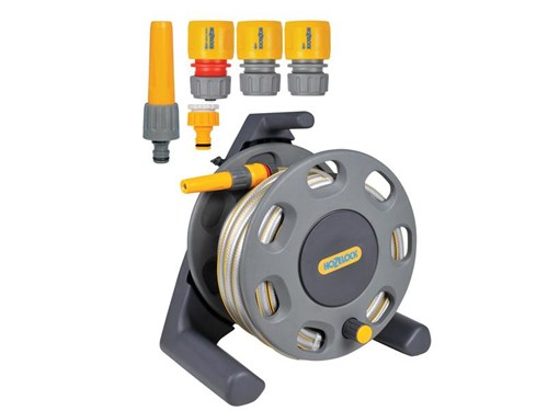 Hozelock 2412 30m Freestanding Compact Hose Reel + 25m of 12.5mm Hose