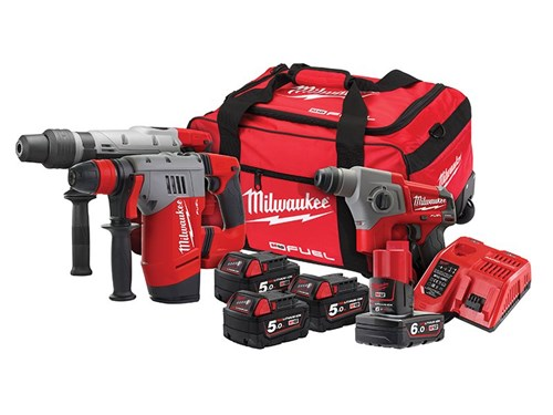 Milwaukee M18 FPP3A-564B SDS Triple Kit 3 x 18 Volt 5.0Ah/1 x 12 Volt 6.0Ah Li-Ion
