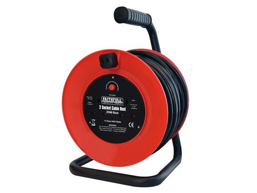 XMS Faithfull Open Frame Cable Reel 240V 20m 13A 2 Sockets