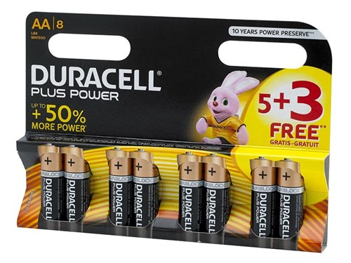XMS Duracell Plus Power AA Batteries (Pack 5 + 3 Free)