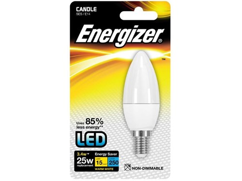 Energizer Lighting Energizer E14 Warm White Blister Pack Candle 3.4w