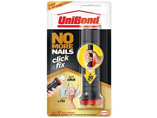 Unibond No More Nails Click & Fix, Easy-to-Use Instant Grab Adhesive, Ready to Use Mounting adhesive, Pre-Dosed Strong Glue for Light DIY