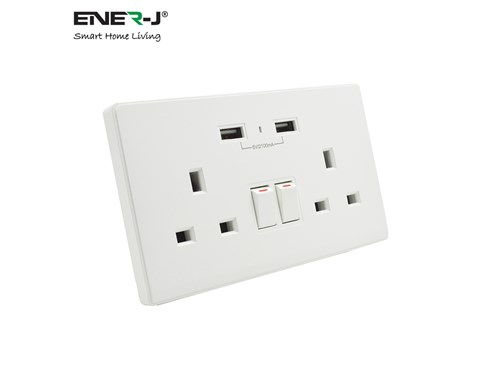 Ener-J Smart Living 13A Smart WiFi Twin Wall Sockets With 2 USB Ports - White