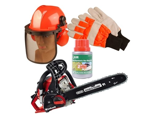 EinHell Chain Deal with Safety Helmet Gloves and 2 Stroke Oil