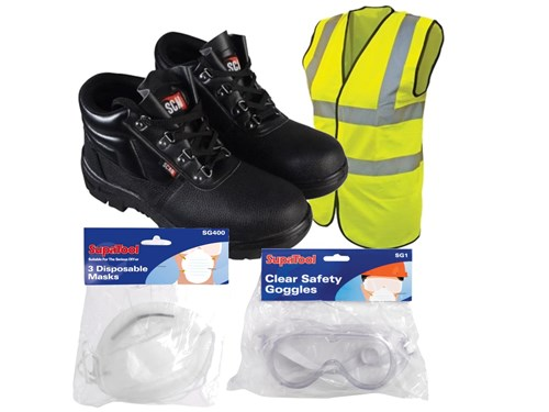 Scan Scan Safety Boots With FREE Hi-Vis Vest, Dust Masks & Goggles